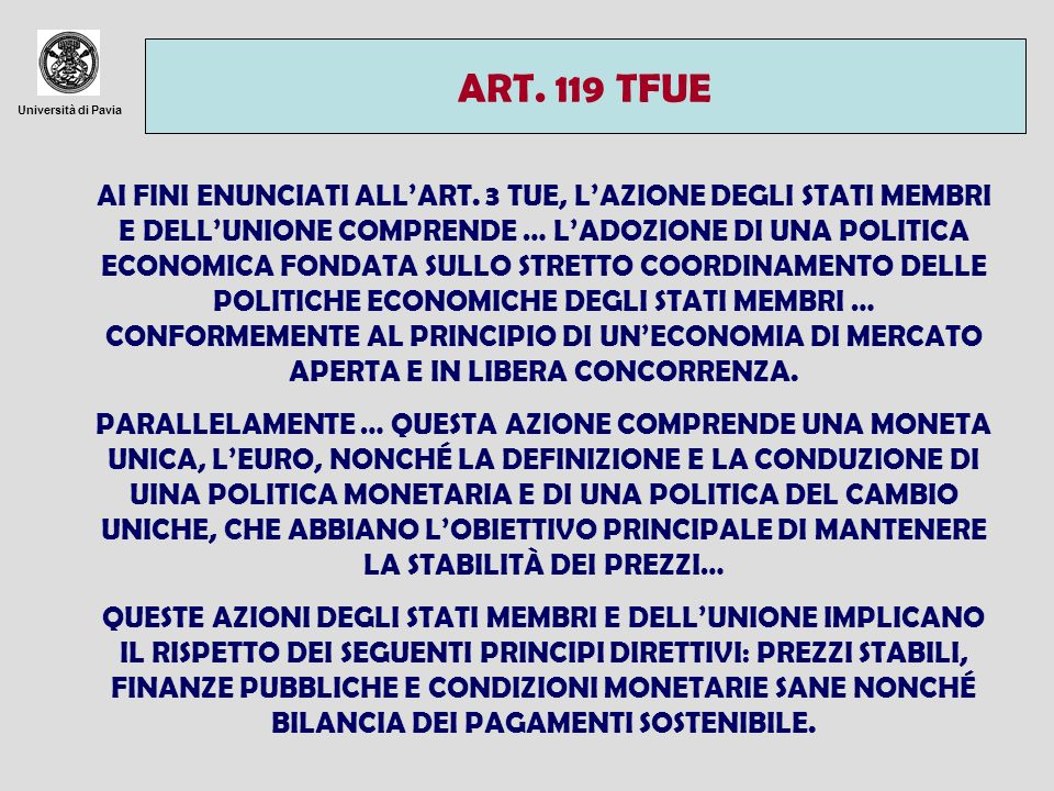 ART. 119 TFUE Università di Pavia.