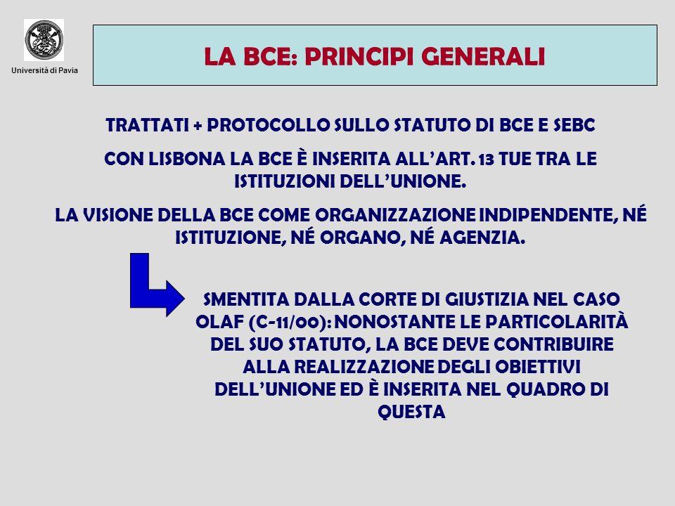 LA BCE: PRINCIPI GENERALI