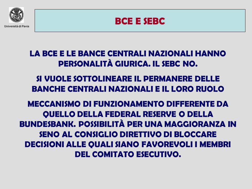BCE E SEBCUniversità di Pavia. LA BCE E LE BANCE CENTRALI NAZIONALI HANNO PERSONALITÀ GIURICA. IL SEBC NO.