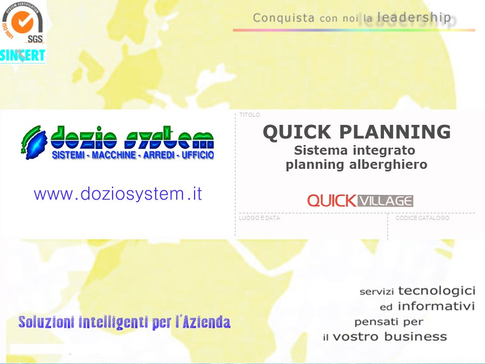 QUICK PLANNING Sistema integrato planning alberghiero TITOLO