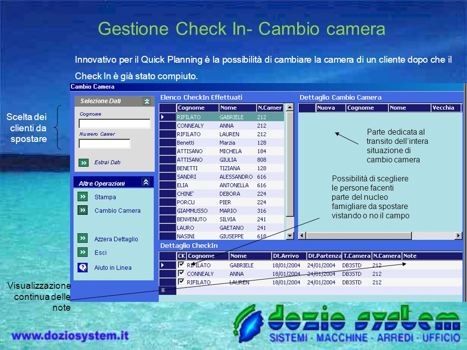 Gestione Check In- Cambio camera