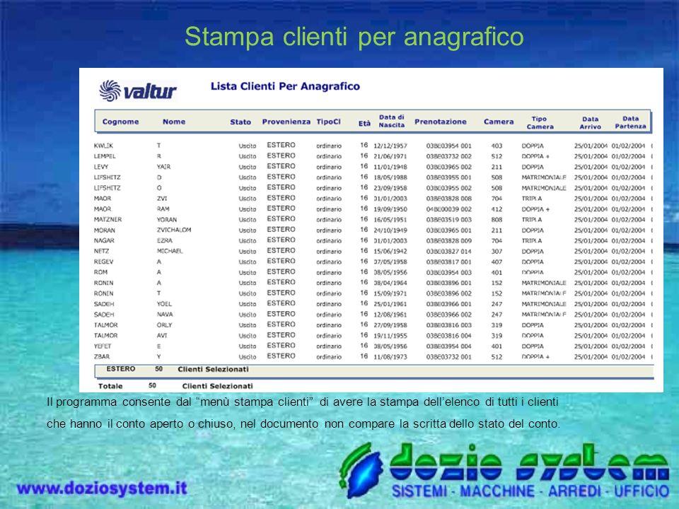 Stampa clienti per anagrafico