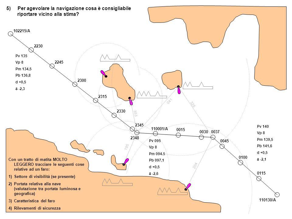 5) Per agevolare la navigazione cosa è consigliabile riportare vicino alla stima