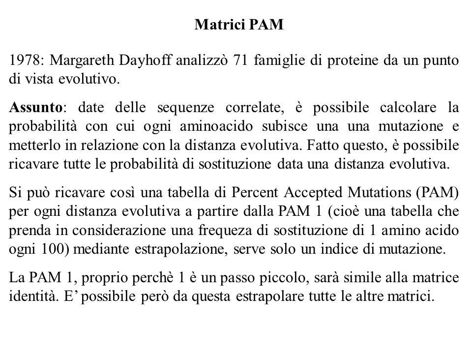 Matrici PAM 1978: Margareth Dayhoff analizzò 71 famiglie di proteine da un punto di vista evolutivo.