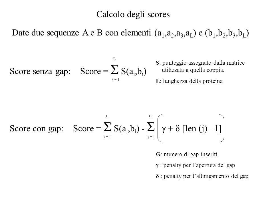 Date due sequenze A e B con elementi (a1,a2,a3,aL) e (b1,b2,b3,bL)