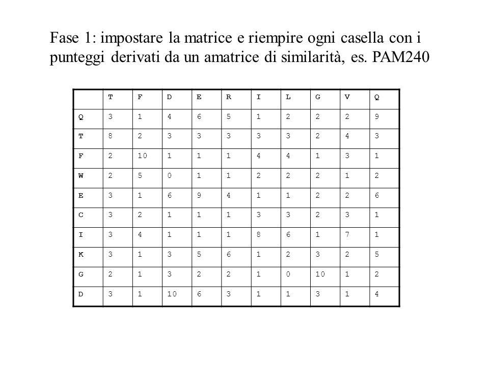 Fase 1: impostare la matrice e riempire ogni casella con i punteggi derivati da un amatrice di similarità, es. PAM240