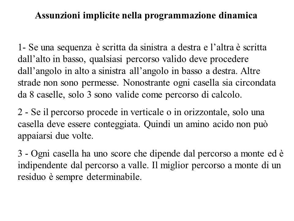 Assunzioni implicite nella programmazione dinamica