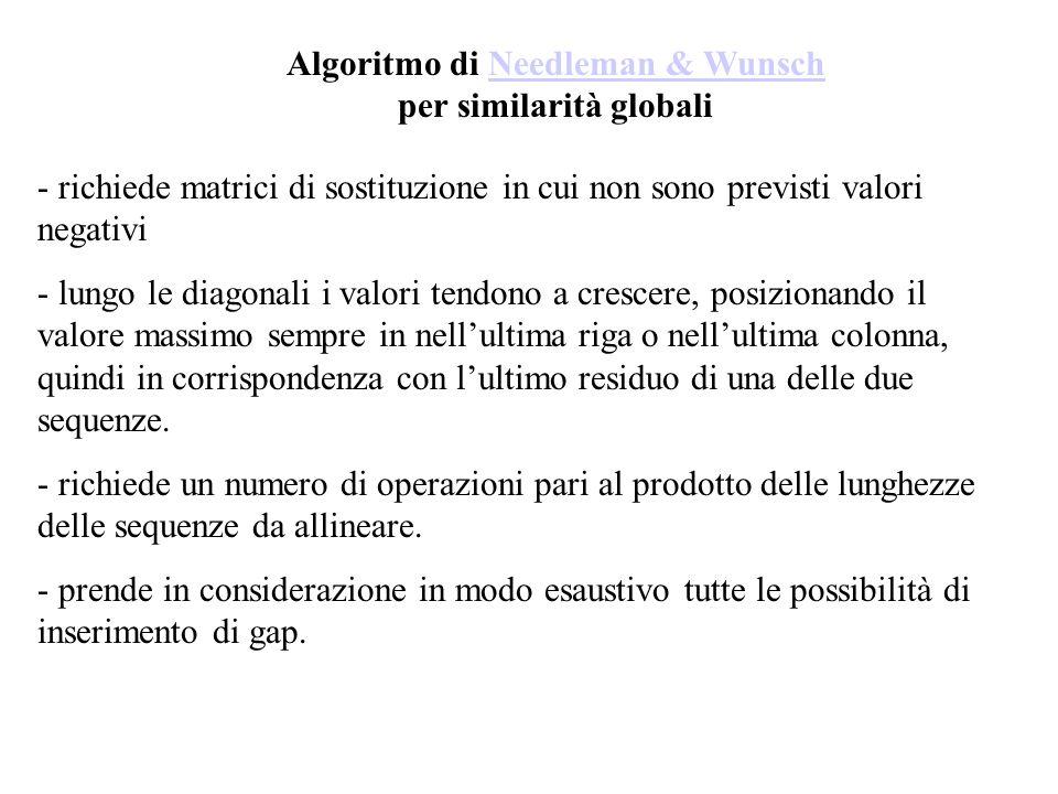 Algoritmo di Needleman & Wunsch per similarità globali