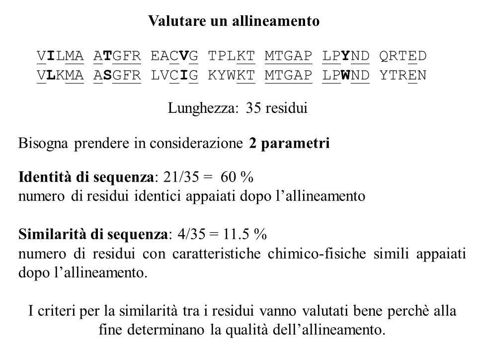 Valutare un allineamento