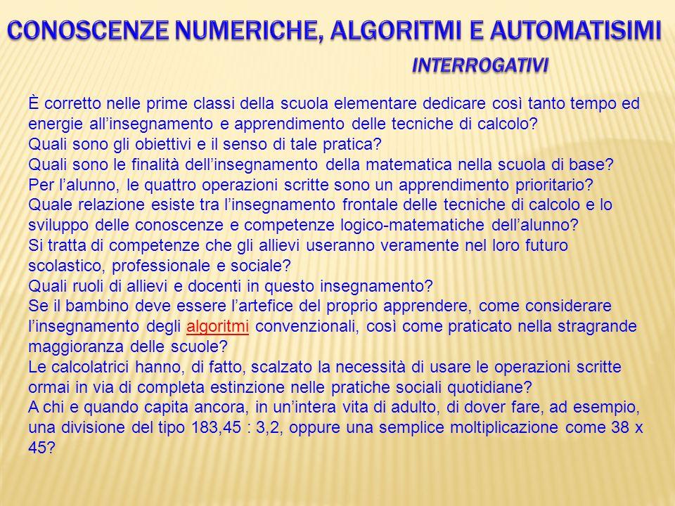 Conoscenze numeriche, algoritmi e automatisimi Interrogativi