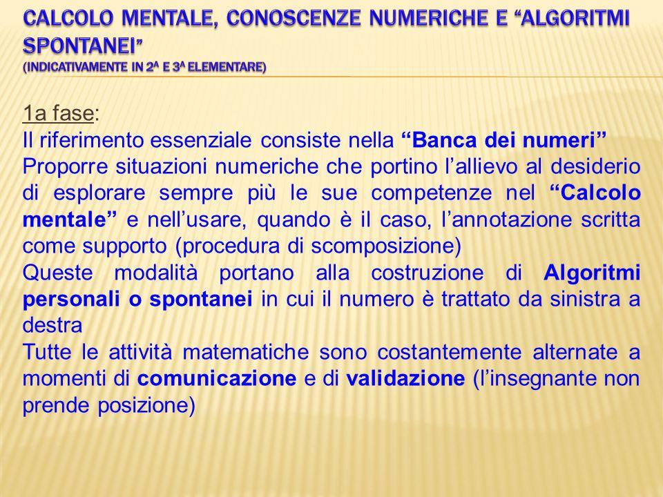 Calcolo mentale, conoscenze numeriche e algoritmi spontanei (indicativamente in 2a e 3a elementare)
