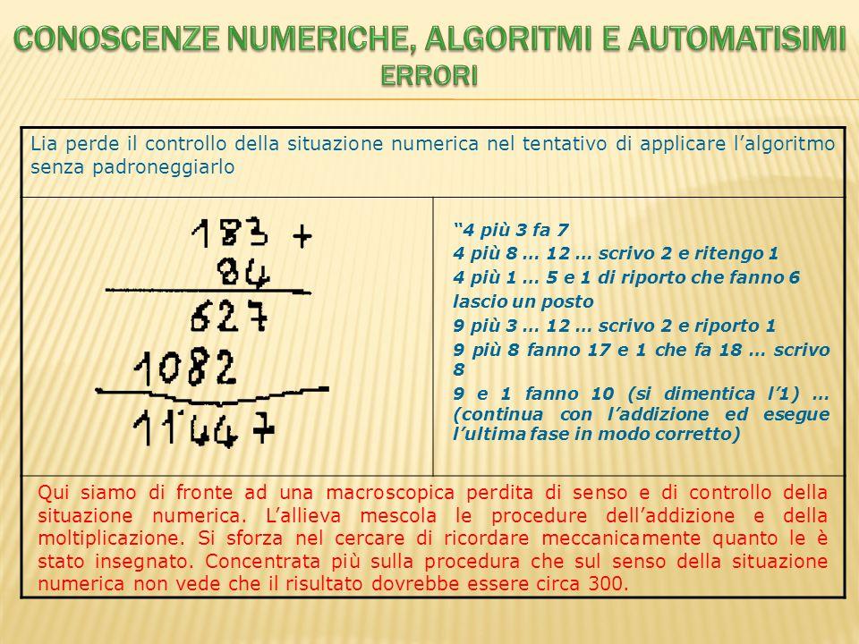 Conoscenze numeriche, algoritmi e automatisimi Errori