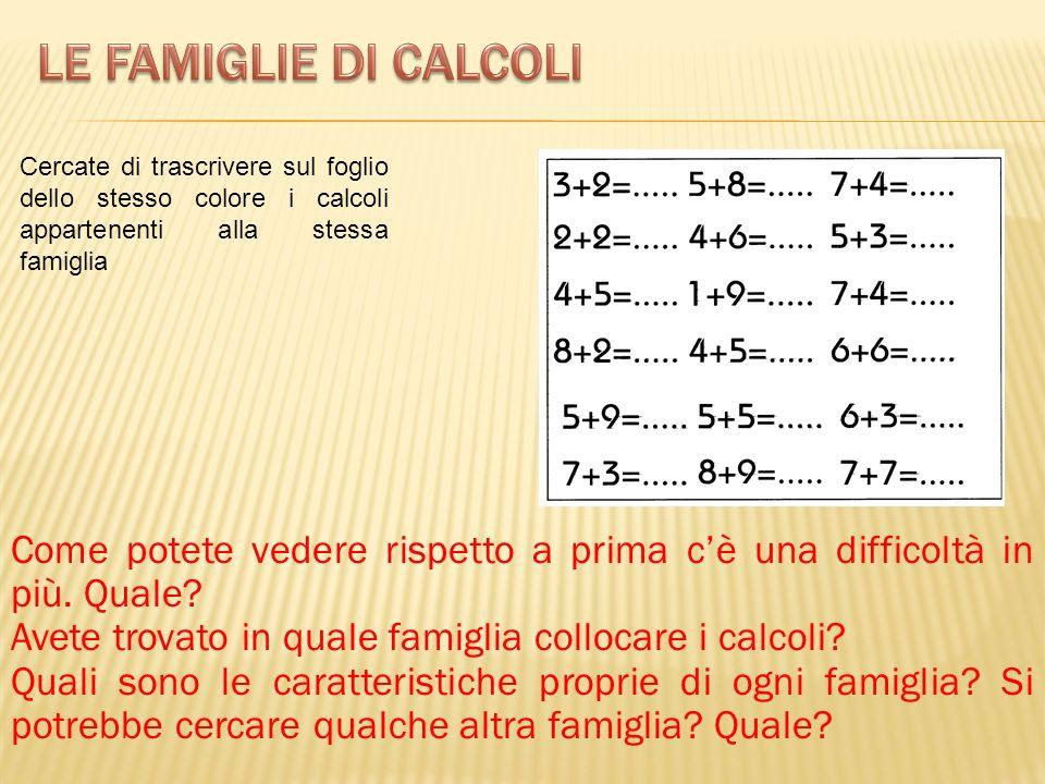 Le famiglie di calcoli Cercate di trascrivere sul foglio dello stesso colore i calcoli appartenenti alla stessa famiglia.