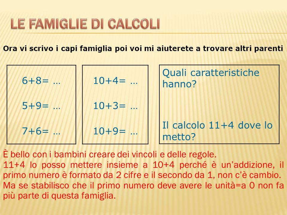 Le famiglie di calcoli 6+8= … 5+9= … 7+6= … 10+4= … 10+3= … 10+9= …