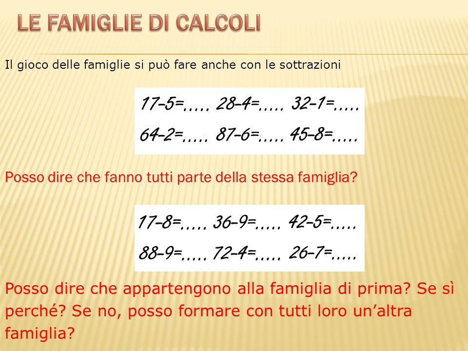 Le famiglie di calcoli Il gioco delle famiglie si può fare anche con le sottrazioni. Posso dire che fanno tutti parte della stessa famiglia