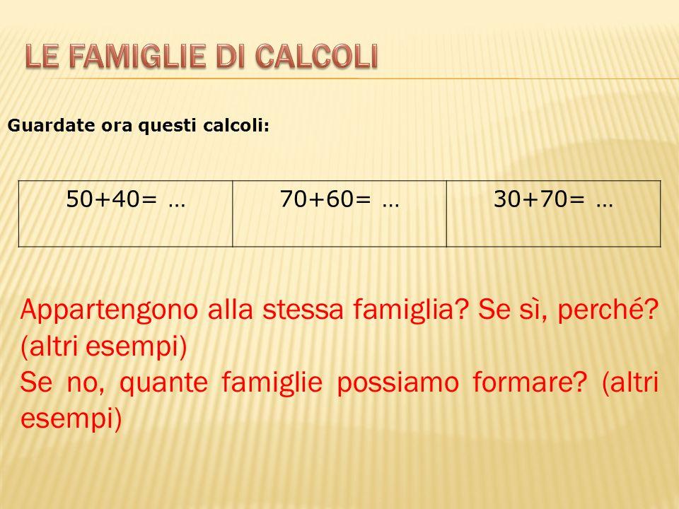 Le famiglie di calcoli Guardate ora questi calcoli: 50+40= … 70+60= … 30+70= … Appartengono alla stessa famiglia Se sì, perché (altri esempi)