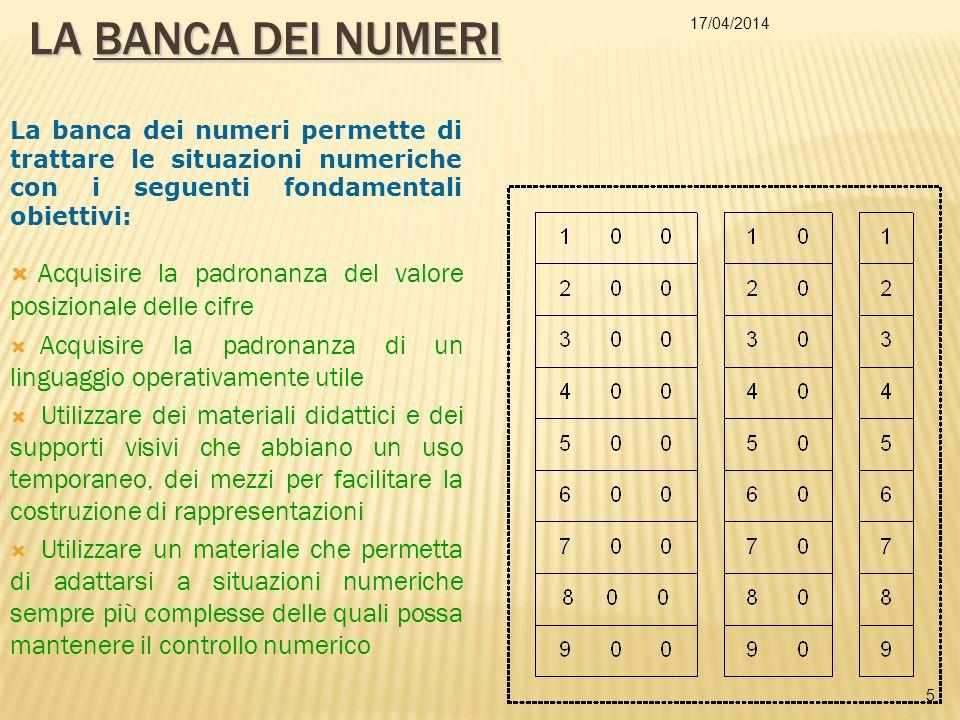 La BANCA DEI NUMERI 29/03/2017. La banca dei numeri permette di trattare le situazioni numeriche con i seguenti fondamentali obiettivi: