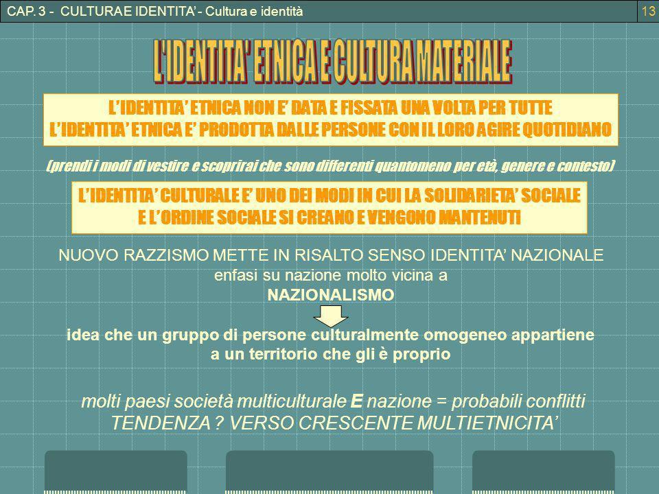 L IDENTITA ETNICA E CULTURA MATERIALE