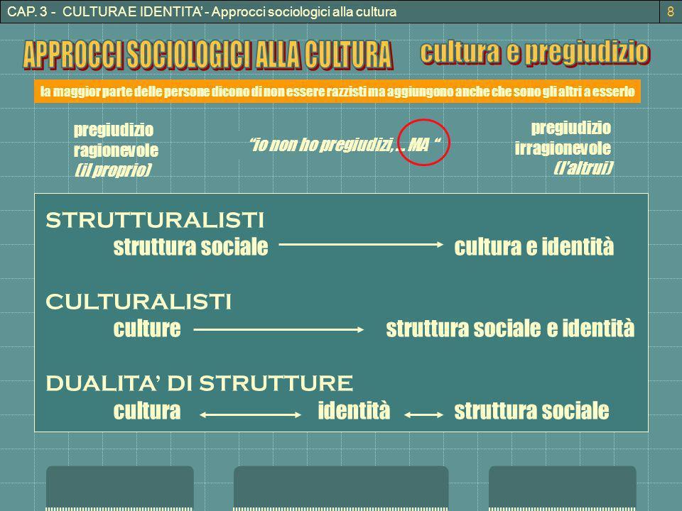 APPROCCI SOCIOLOGICI ALLA CULTURA cultura e pregiudizio