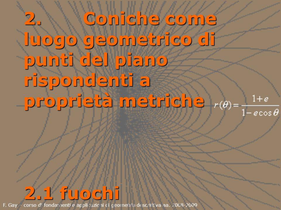 2. Coniche come luogo geometrico di punti del piano rispondenti a proprietà metriche