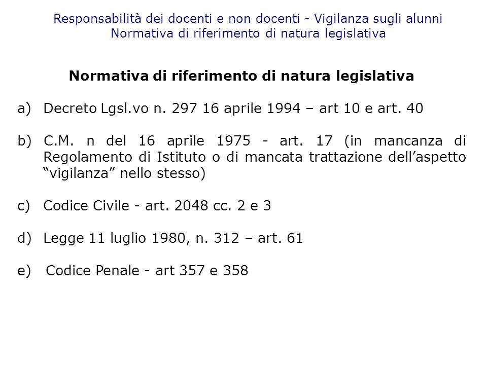 Normativa di riferimento di natura legislativa