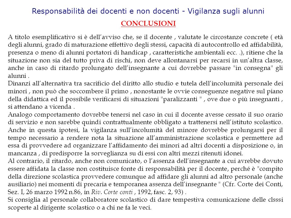 Responsabilità dei docenti e non docenti - Vigilanza sugli alunni