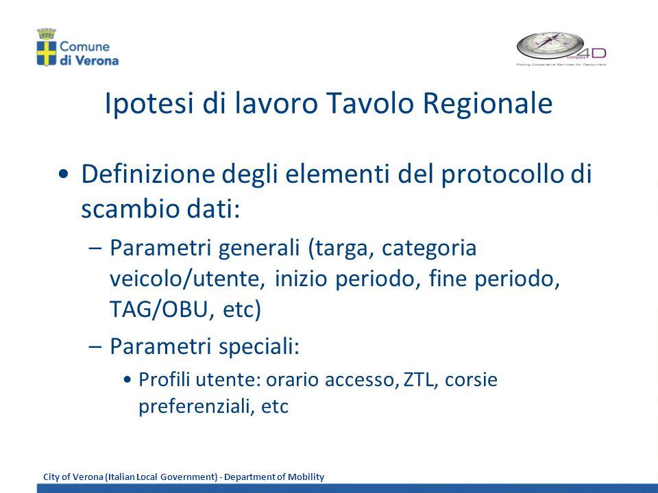 Ipotesi di lavoro Tavolo Regionale