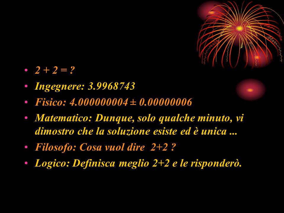 2 + 2 = Ingegnere: 3.9968743. Fisico: 4.000000004 ± 0.00000006.