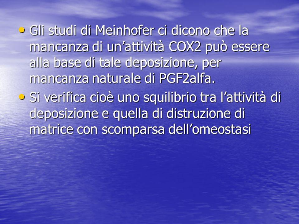 Gli studi di Meinhofer ci dicono che la mancanza di un'attività COX2 può essere alla base di tale deposizione, per mancanza naturale di PGF2alfa.