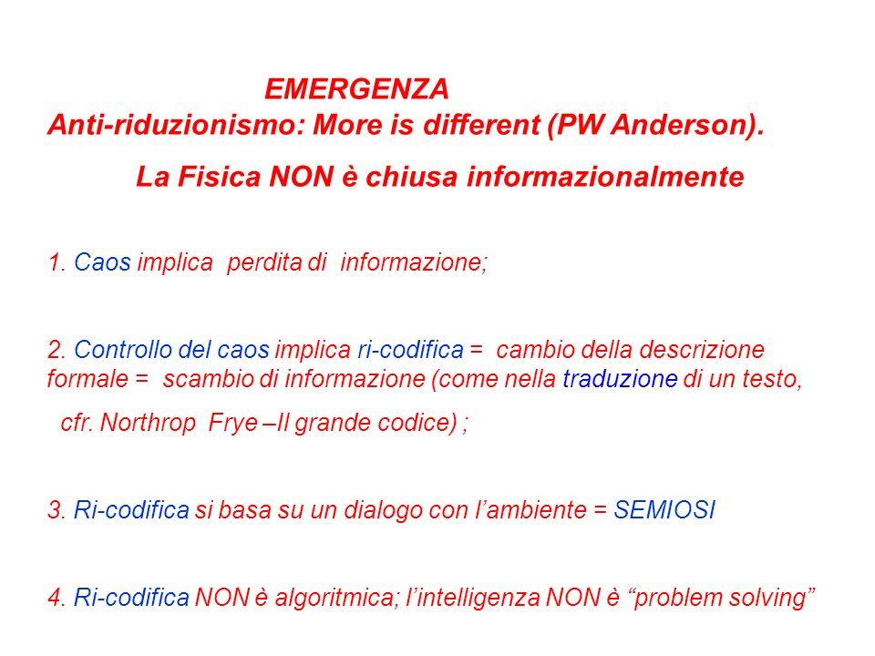 EMERGENZA Anti-riduzionismo: More is different (PW Anderson).