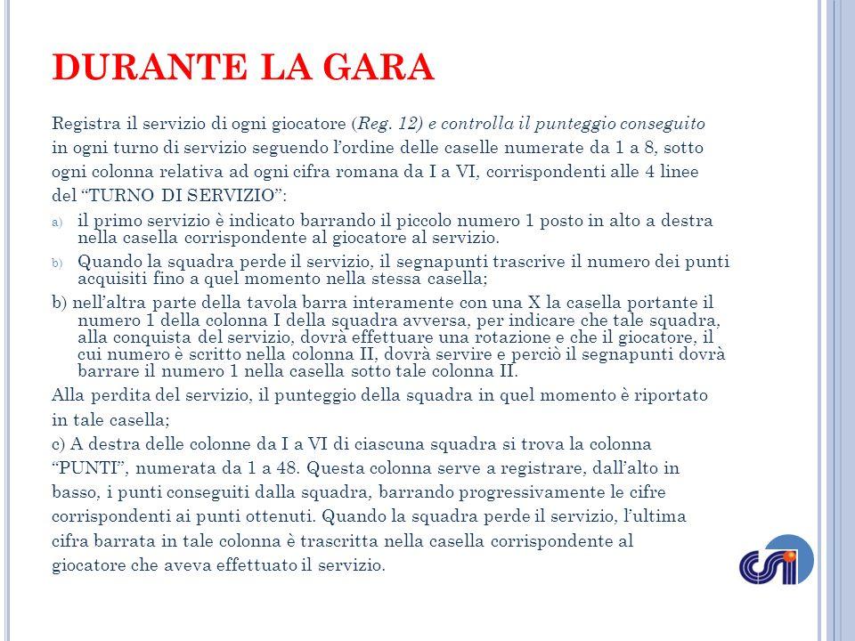 DURANTE LA GARA Registra il servizio di ogni giocatore (Reg. 12) e controlla il punteggio conseguito.
