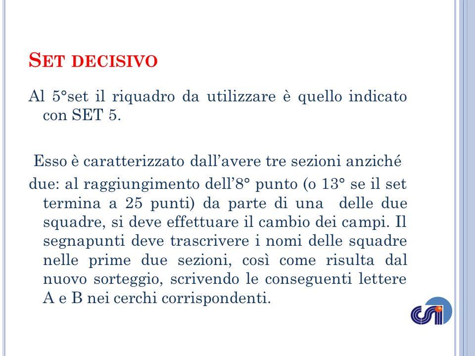 Set decisivo Al 5°set il riquadro da utilizzare è quello indicato con SET 5. Esso è caratterizzato dall'avere tre sezioni anziché.
