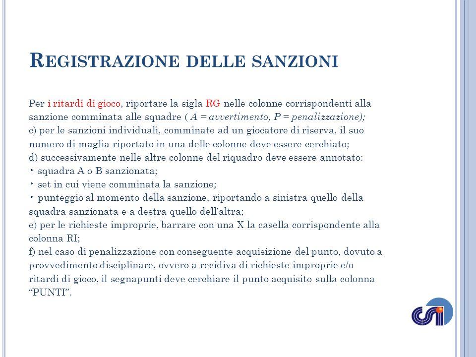 Registrazione delle sanzioni