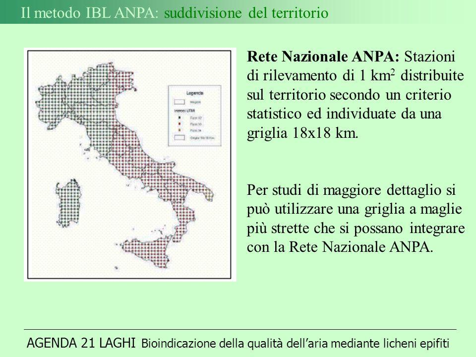 Il metodo IBL ANPA: suddivisione del territorio