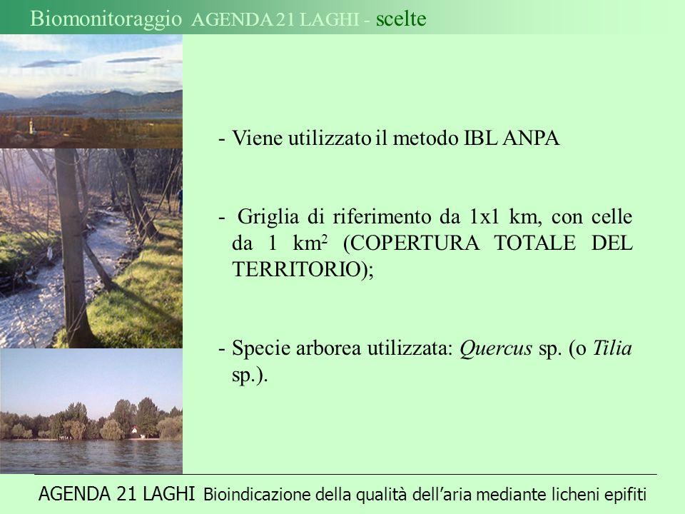 Biomonitoraggio AGENDA 21 LAGHI - scelte