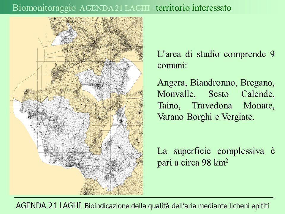 Biomonitoraggio AGENDA 21 LAGHI - territorio interessato