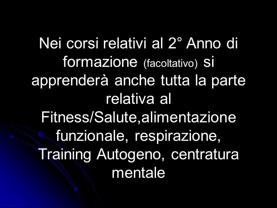 Nei corsi relativi al 2° Anno di formazione (facoltativo) si apprenderà anche tutta la parte relativa al Fitness/Salute,alimentazione funzionale, respirazione, Training Autogeno, centratura mentale