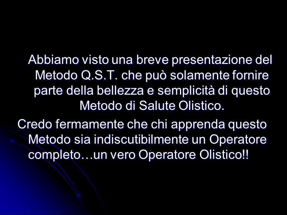 Abbiamo visto una breve presentazione del Metodo Q. S. T