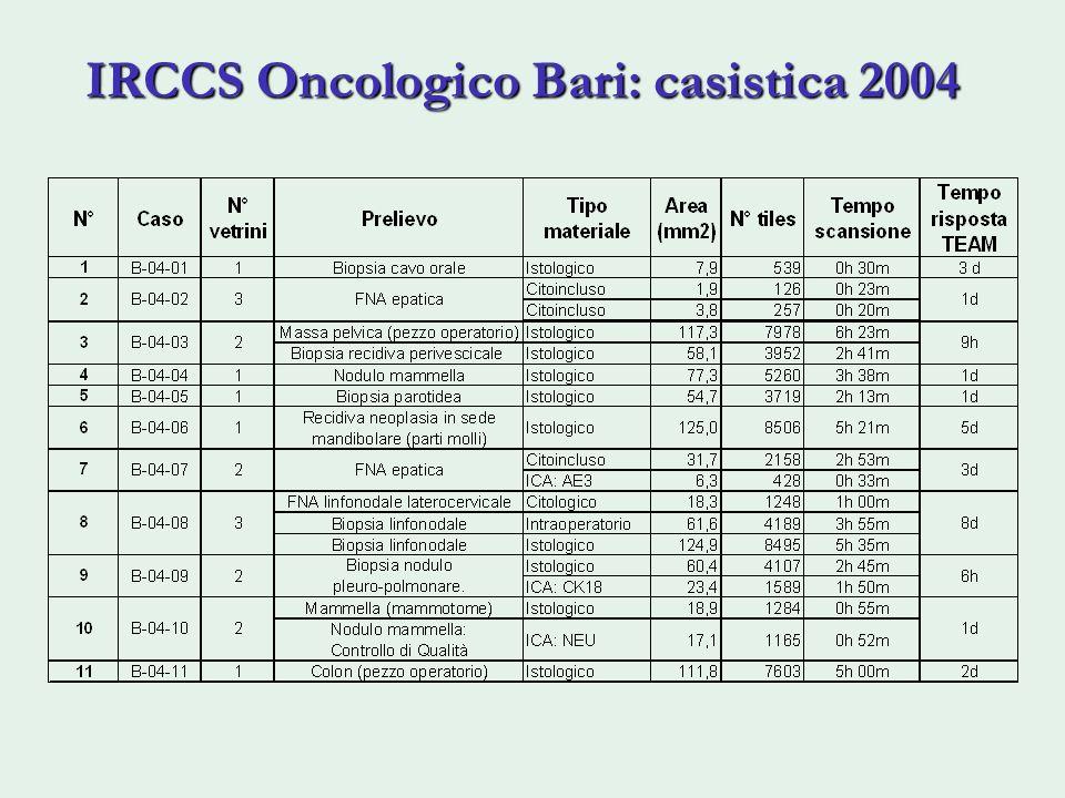 IRCCS Oncologico Bari: casistica 2004