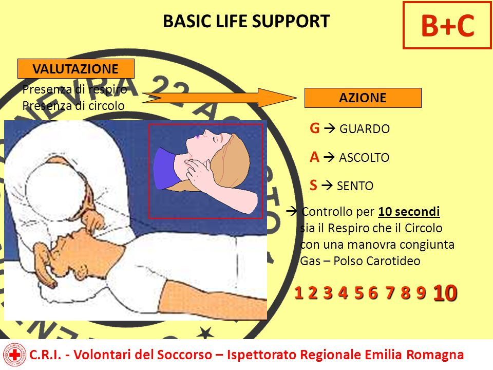 B+C 10 BASIC LIFE SUPPORT 1 2 3 4 5 6 7 8 9 G  GUARDO A  ASCOLTO