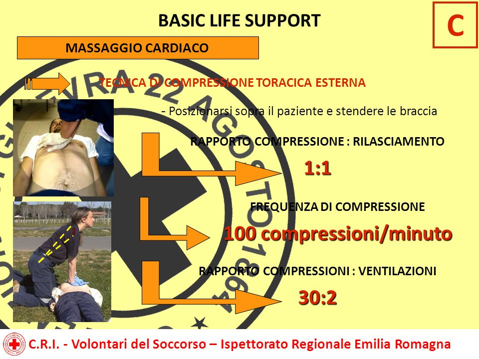 C 1:1 100 compressioni/minuto 30:2 BASIC LIFE SUPPORT