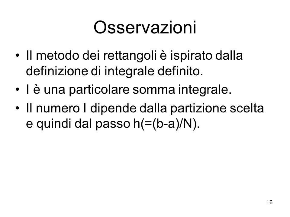 Osservazioni Il metodo dei rettangoli è ispirato dalla definizione di integrale definito. I è una particolare somma integrale.