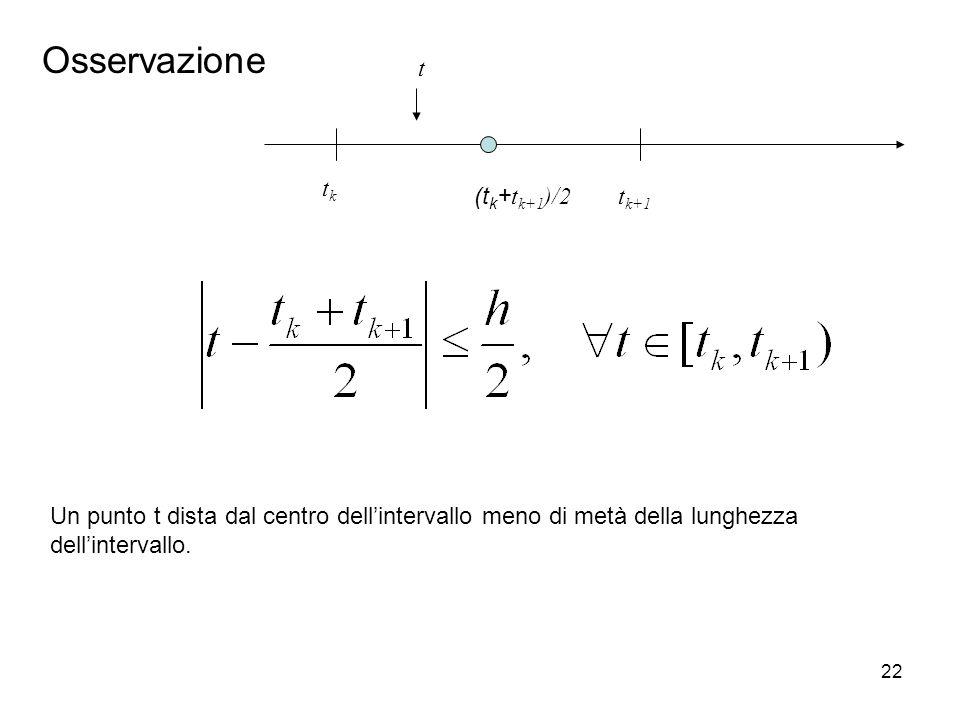 Osservazione t tk (tk+tk+1)/2 tk+1