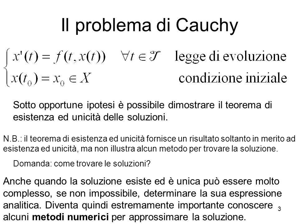 Il problema di Cauchy Sotto opportune ipotesi è possibile dimostrare il teorema di esistenza ed unicità delle soluzioni.