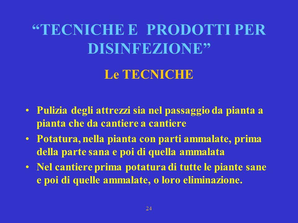 TECNICHE E PRODOTTI PER DISINFEZIONE