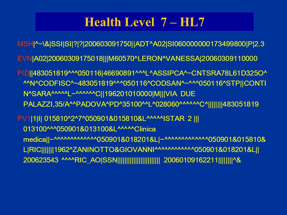 Health Level 7 – HL7 MSH|^~\&|SSI|SI| | |200603091750||ADT^A02|SI060000000173499800|P|2.3.