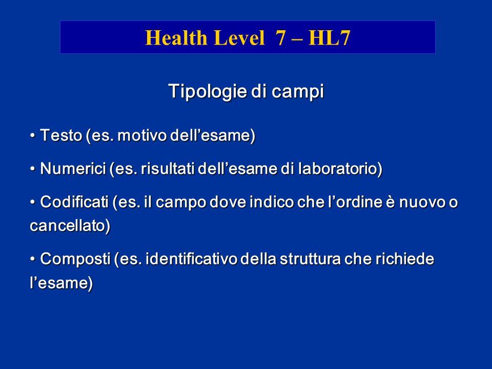 Health Level 7 – HL7 Tipologie di campi Testo (es. motivo dell'esame)