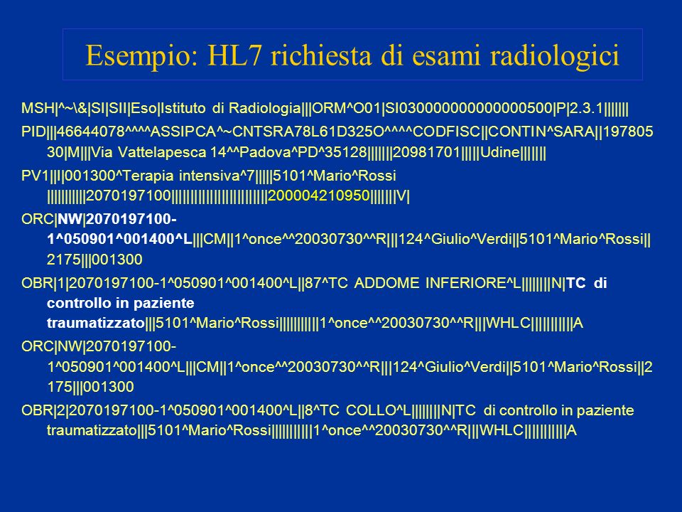 Esempio: HL7 richiesta di esami radiologici