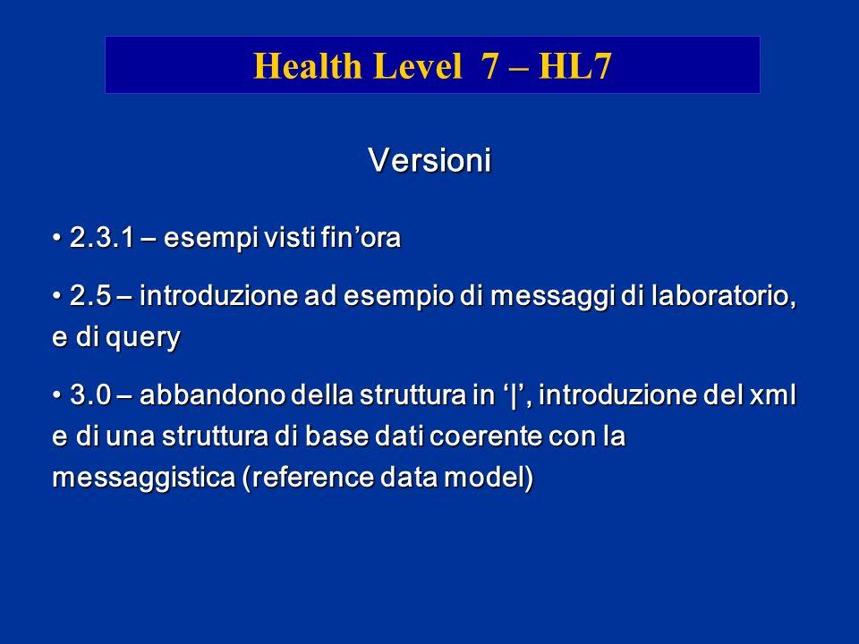 Health Level 7 – HL7 Versioni 2.3.1 – esempi visti fin'ora