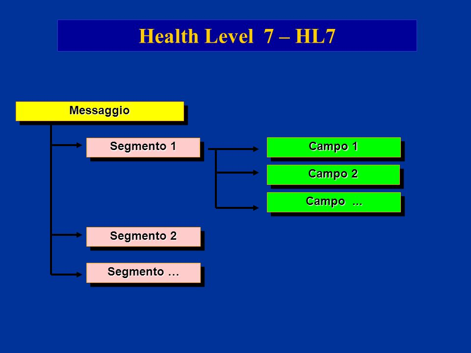 Health Level 7 – HL7 Messaggio Segmento 1 Campo 1 Campo 2 Campo ...
